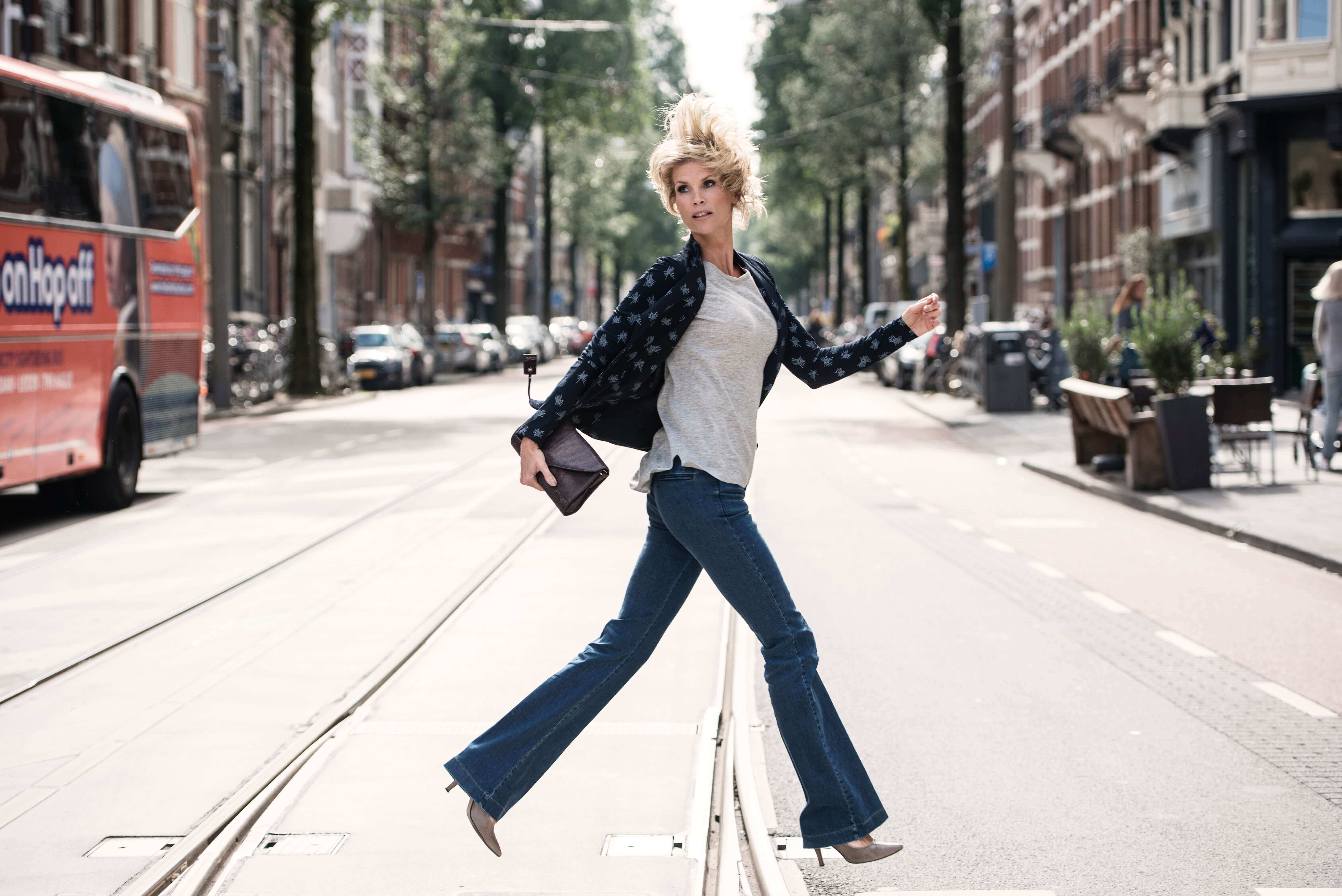Flared jeans: Street style of NY Fashion week